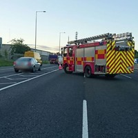 Rush hour tailbacks after car overturns on M50
