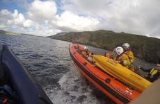 Three fishermen, a kayaker and the coast guard save a sheep that fell 200ft off a cliff
