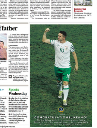 The LA Galaxy has just paid a classy tribute to Robbie Keane on his big day