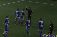 No craic referee sends off defender for celebrating hat-trick goal in style
