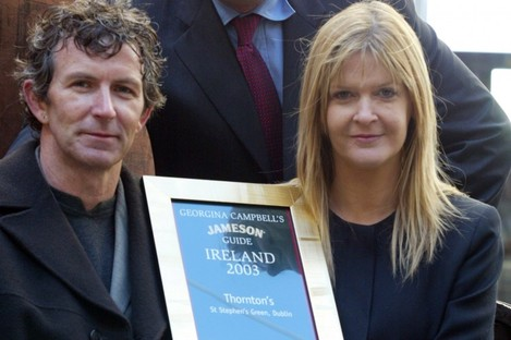 Kevin and Muriel Thornton, who won Jameson Restaurant of the Year 2003, with Chief Executive Officer of Irish Distillers Philippe Savinel.