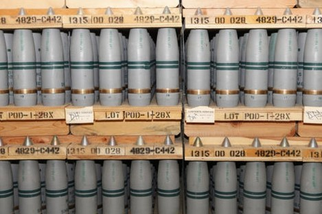 105mm shells are shown that contain mustard agent where they are stored in a bunker at the Army's Pueblo Chemical Storage facility in Pueblo, Colorado.