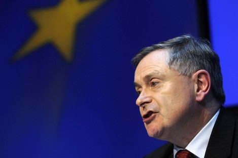 Brendan Howlin at a press conference after his announcement in the Dáil today