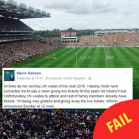 This lad's Facebook got pranked and people think he's giving away All-Ireland tickets now