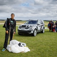 Bear Grylls went skydiving to test the seats in a Land Rover Discovery