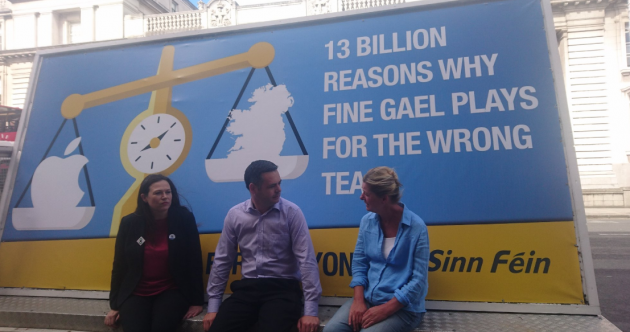 Sinn Féin's new billboard says Fine Gael is 'playing for the wrong team' over Apple