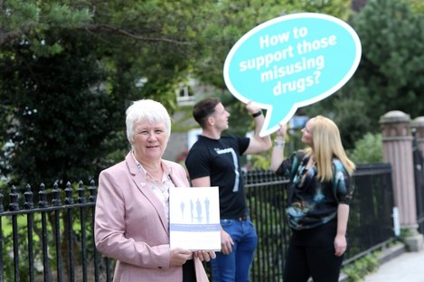 Catherine Byrne at this week's launch, with Dublin gaelic footballer, Philly McMahon and Dr Fiona Weldon, Clinical Psychologist.