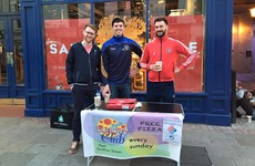 Dozens of homeless people will share pizza with the public on Grafton Street this evening