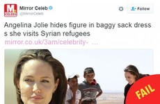 Here's how a tabloid reported on Angelina Jolie's visit to a Syrian refugee camp