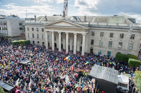 Protestors outside the GPO during a Right2Water protest in August 2015.