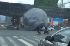 A gigantic inflatable moon is causing havoc in China