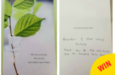 This guy handed in the most perfect card to signify his two weeks notice