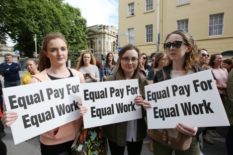 Primary School Teachers Laoise Hamill and Clare McManus protest for pay equality in June.