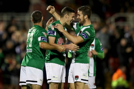 Cork City's Garry Buckley celebrates scoring their third goal of the game.