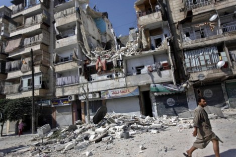 File photo of a building destroyed by an airstrike in Syria.