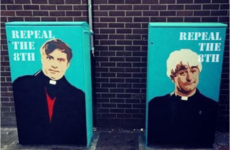 Graham Linehan has endorsed this Father Ted/Repeal The 8th traffic box in Dublin