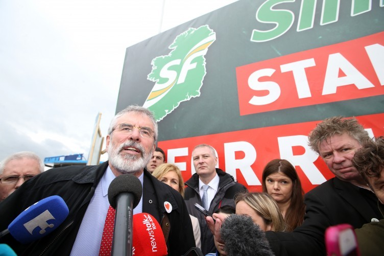 Sinn Fein leader Gerry Adams speaking to the media at the National Ploughing Championships at Screggan, Tullamore, Co Offaly today.