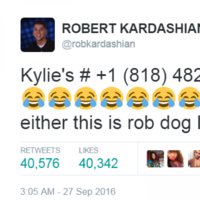 Rob Kardashian just tweeted Kylie Jenner's phone number in a row over a baby shower