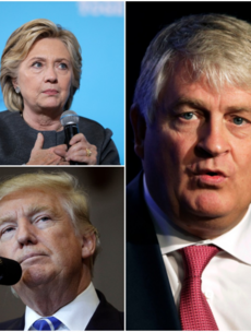 Donald Trump has launched an attack on Hillary Clinton over her links to Denis O'Brien