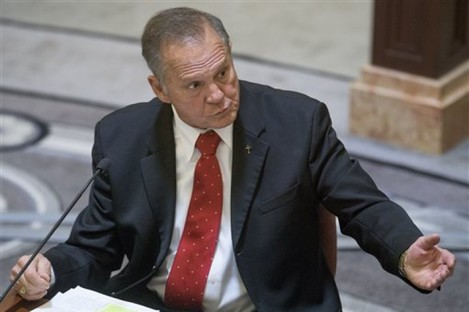 Alabama Chief Justice Roy Moore testifies during his ethics trial before the Alabama Court of the Judiciary at the Alabama Judicial Building in Montgomery on Wednesaday