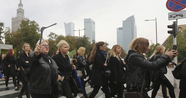 Women in Poland went on strike today to protest planned new abortion laws