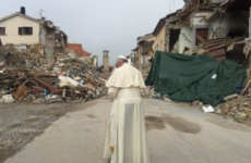 Pope Francis pays surprise visit to town devastated by earthquake