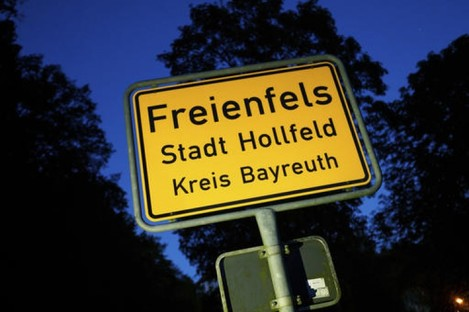 The town sign of Freienfels near Bayreuth, southern Germany.