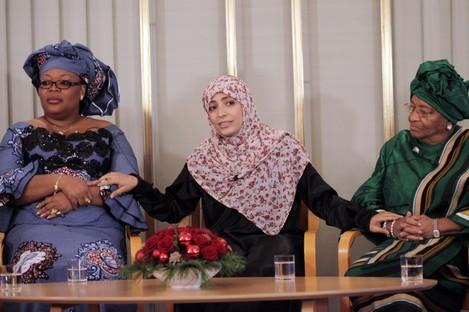 (L-R) Leymah Gbowee, Tawakkol Karman and Ellen Johnson-Sirleaf
