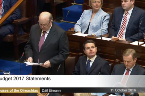 Former, future and current leaders? Michael Noonan, Paschal Donohoe and Enda Kenny during the announcement of Budget2017 in the Dáil yesterday.