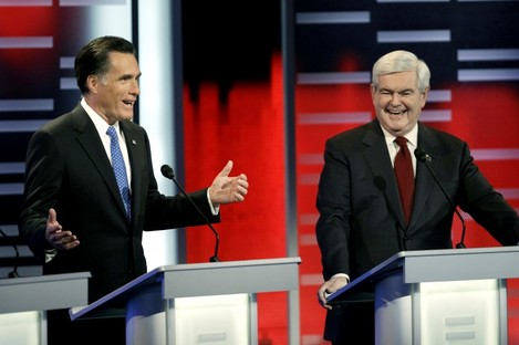 Republican presidential candidates Mitt Romney and Newt Gingrich