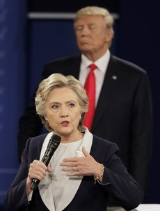 "Hillary Clinton has accused Donald Trump of ""stalking"" her during their tv debate"