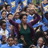 Michelle Obama sets world record... for star-jumps