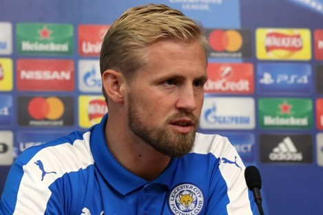 Kasper Schmeichel speaking at a press conference today.