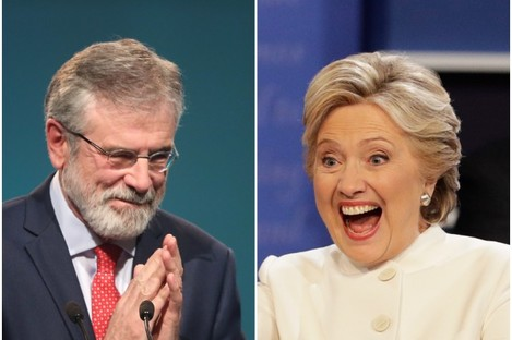 Gerry Adams and Hillary Clinton