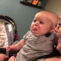 This little baby starts bawling any time her parents shift in front of her