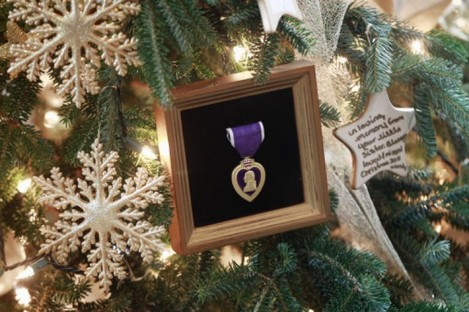 A Purple Heart decoration on the White House Christmas tree in Washington.