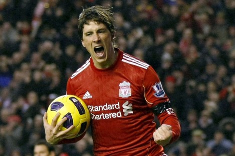 Torres scoring for Liverpool against Bolton on New Year's Day of this year.