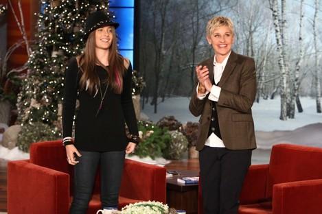 Paris Jackson with Ellen DeGeneres before a pre-recorded interview.