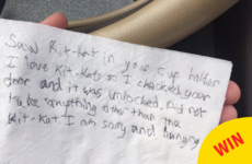 People are loving this note from an extremely polite Kit Kat thief