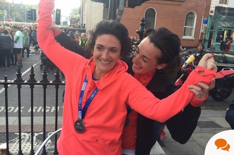 Sarah and her cousin Dorothy after collecting their medals, 26.2 miles later.
