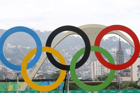 The Olympic rings in Rio.