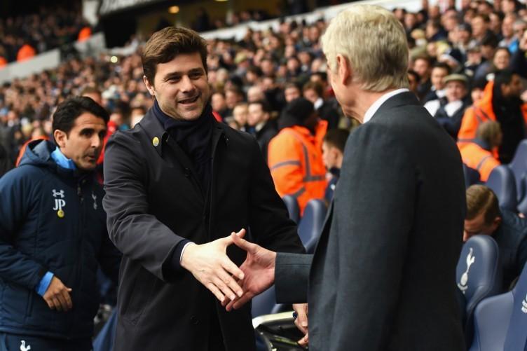 Mauricio Pochettino greets Arsene Wenger