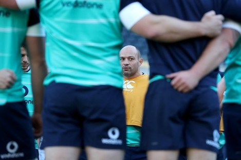 Eyes on the prize. Rory Best gathers his team in Soldier Field this morning.