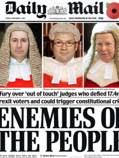 The UK's Justice Minister eventually comes out to support these judges (kind of)