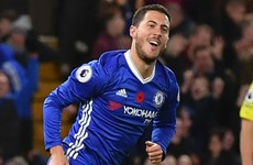 Hazard strikes twice as scintillating Chelsea go top