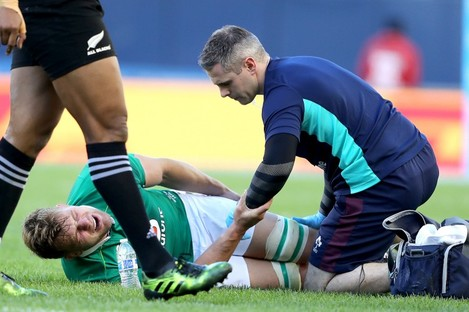 Murphy goes down injured during Saturday's game.