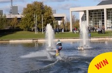 This ex-UCD student returned to campus yesterday to wakeboard across the lake