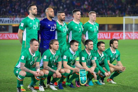The Irish team pictured ahead of their game with Austria.