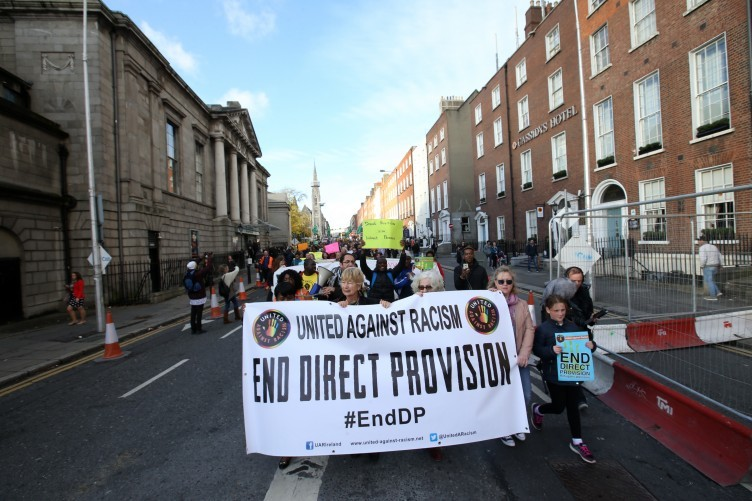 Protesters calling for the end of Direct Provision.