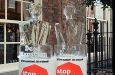 Melting climate change ice sculptures of Enda Kenny and Denis Naughten are on the move outside the Dáil